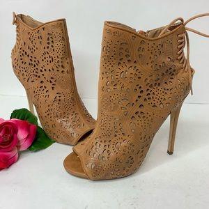 Steve Madden Womens 8M Tan Korsett High Heel Boots